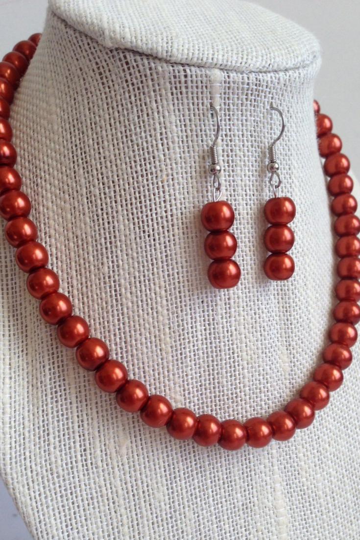 Rustic Wedding Jewelry - Bridesmaid Gift - Dark Orange Pearl Necklace Earring Set.png