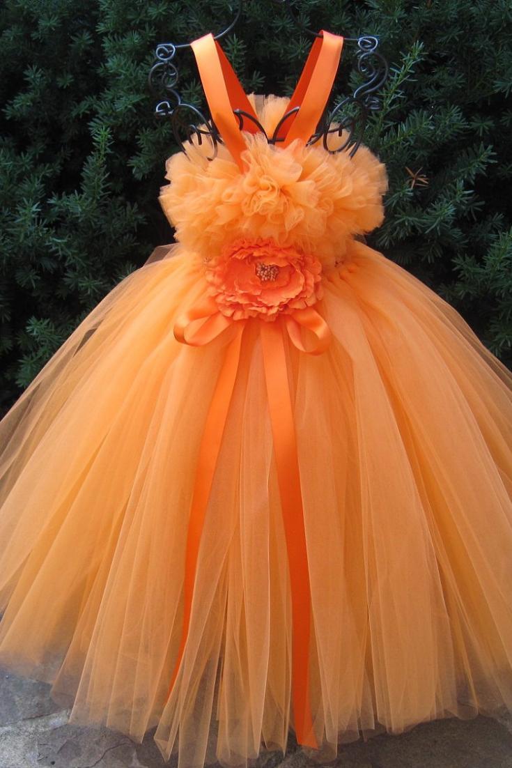 ORANGE TUTU DRESS, Flower Girl Gown, Pageant Girl Dress, Autumn Orange Dress