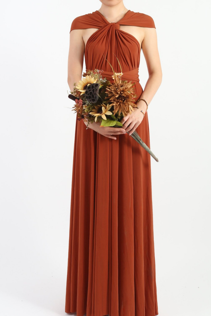 Rust Burnt Orange Floor Length LONG Ball Gown Maxi Infinity Dress Convertible Formal Multiway Wrap Bridesmaid Evening Dress Wedding Party.png
