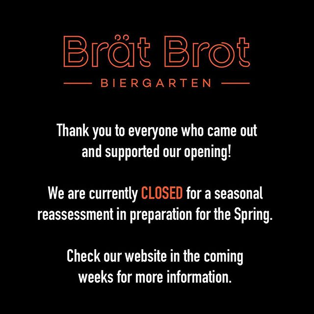 If you purchased a gift card, please email info@bratbrot.com for reimbursement.