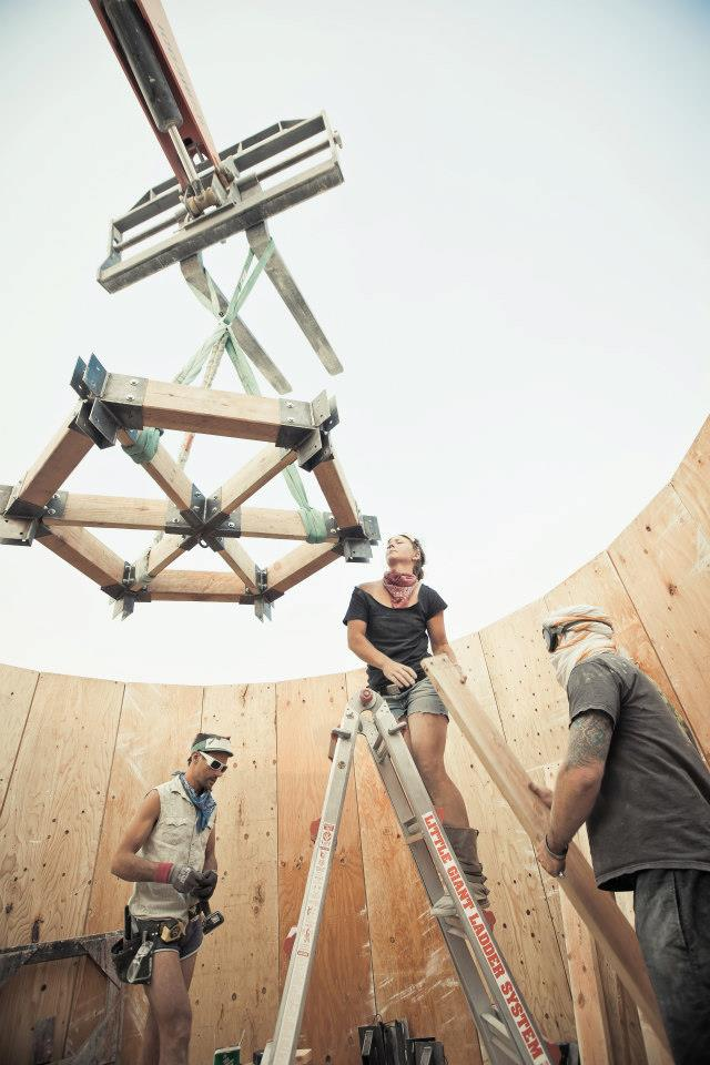 Installing the Sub-Sonarium at Burning Man 2012. Photo by Justin Oliphant.
