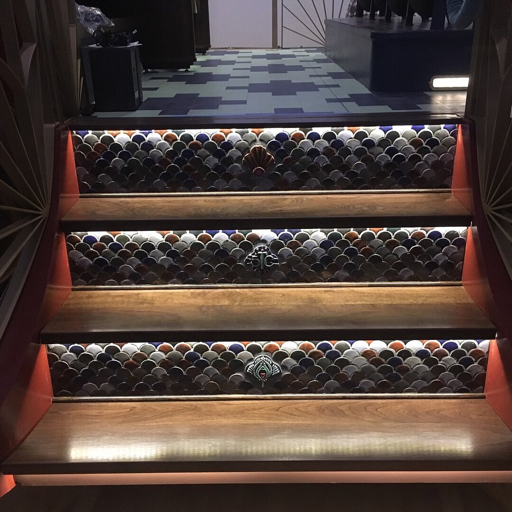 Walnut & ceramic tile stairs. Tile by Sara Chieco.