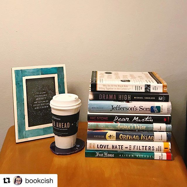 It's #bookstackfriday, DBC! Member @bookcish is really expanding her reading by digging into EIGHT of our #DBCsummer selections! We can't get over how many picks from our guide you all are reading! We love it! Keep those photos coming! . . . #Repost @bookcish with @get_repost ・・・ These are my picks from the #dbcsummer guide. I read Drama High back in the spring and bought Dear Martin months ago but finally moved it up on my TBR after seeing that it was on the guide. I used to own a copy of Fun Home from a lit course I took during undergrad, but at some point in one of my many moves, I found myself without it. Fun Home and the rest are from the library. Since most are YA, middle grade, or graphic novels, I think I should be able to make short work of this stack. Wish me luck!
