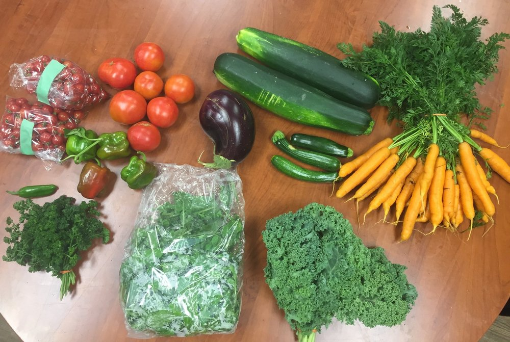 Mid Season Share - Cherry tomatoes, slicer tomatoes, mixed hot peppers, large and baby zucchinis, kale, carrots, eggplant, 250g spinach and parsley