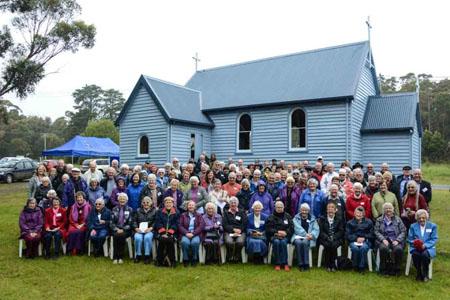 The total group of pilgrims at St Brendan's church, Alonnah.