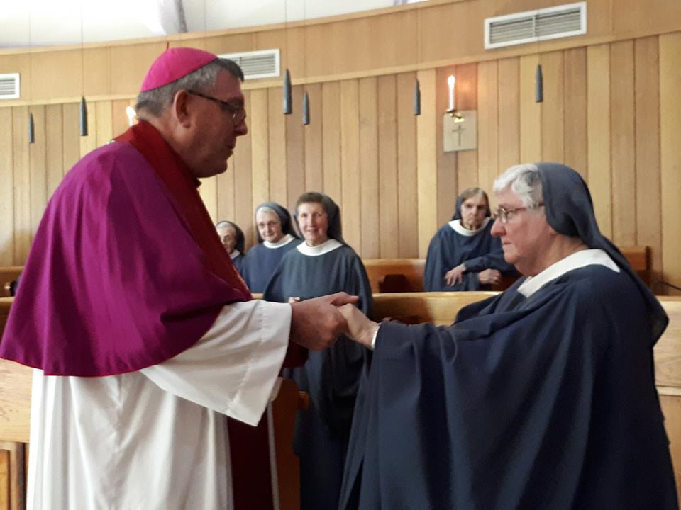Wollongong Bishop Brian Mascord with Mother Hilda Scott osb following her election as Abbess of the Benedictine Sisters at Jamberoo. (Photo: Facebook/Jamberoo Abbey)