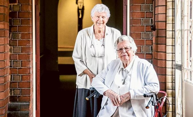 Sr Margaret Sullivan FDNSC (seated) with her sister, Denise, a Dominican Sister. Photo: Catholic Weekly/Alphonsus Fok.