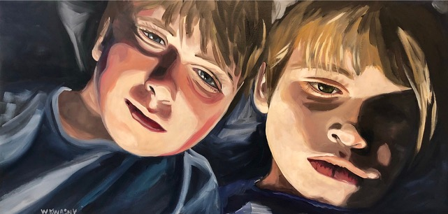 """Ghost Stories at Camp, 36""""x 18"""" Acrylic on Canvas"""