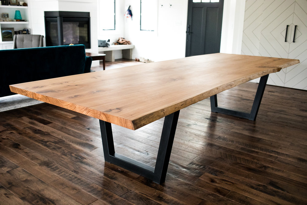 Live edge elm dining table - Big Tooth Co.