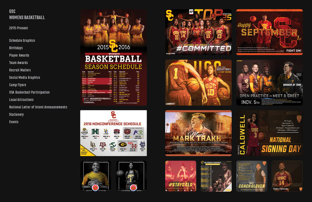 Client: USC Womens Basketball –––––––––––––––––––– Skills: Adobe Photoshop CC, Adobe InDesign CC –––––––––––––––––––– Project Type: Sports Graphics  –––––––––––––––––––– Description: USC Women's Basketball Team is led by coach, Mark Trakh. They were previously coached by Hall of Fame coach, Cynthia Cooper. The USC Lady Trojans are a part of the Pac 12 conference.