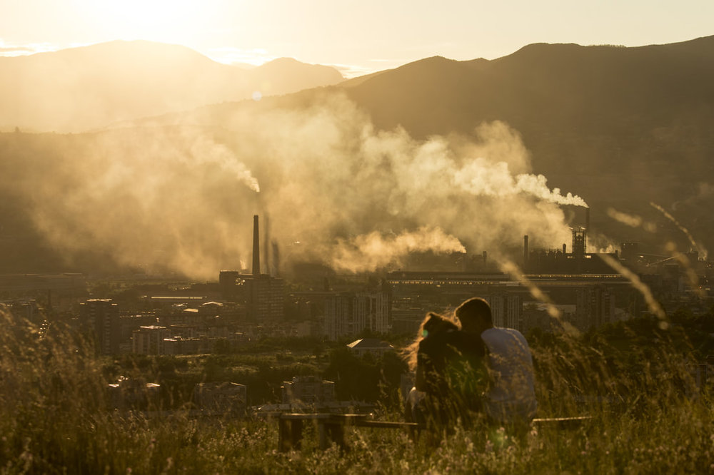 July 13, 2017, Zenica - Sunset above Arcelor Mittal steel factory in Zenica, that once used to employ about 40,000 people. Currently less than 5,000 people work there. According to World Health Organization (WHO) data from 2017, Bosnia and Herzegovina are the most polluted country in Europe.