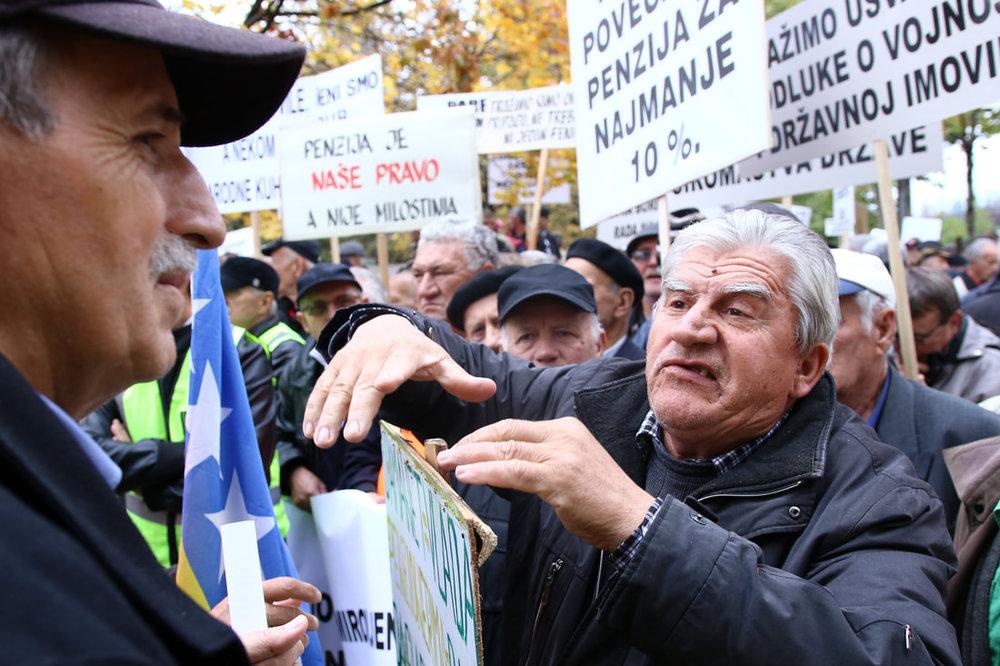 October 25, 2017, Sarajevo - Pensioners protest.