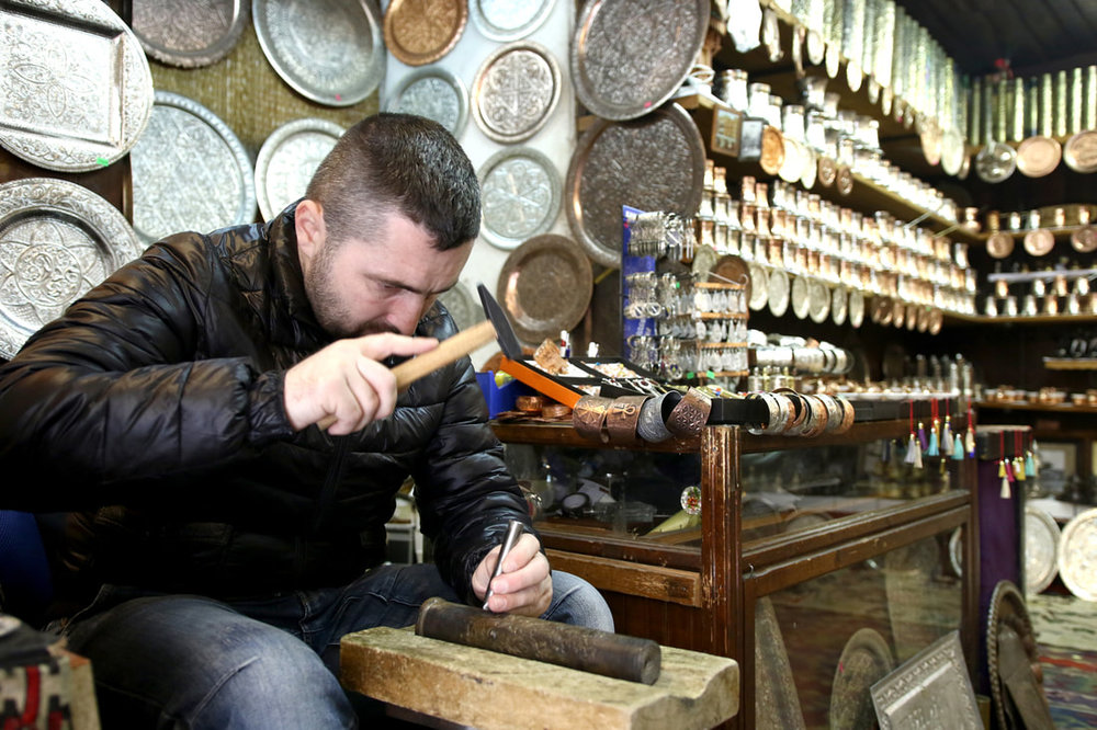 March 15, 2017, Sarajevo - Kenan Hidic who has learned the craft from his father, is using shells from the war in Bosnia 1992-1995 to produce souvenirs that decorate homes around the world.
