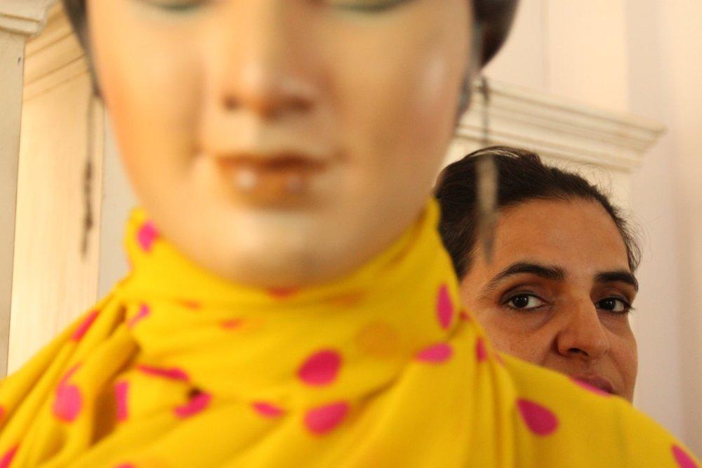 Bharti Kher in her studio in Gurgaon, 2012