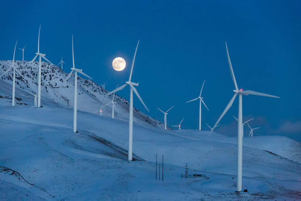 Wind turbines in Winter near Goldendale