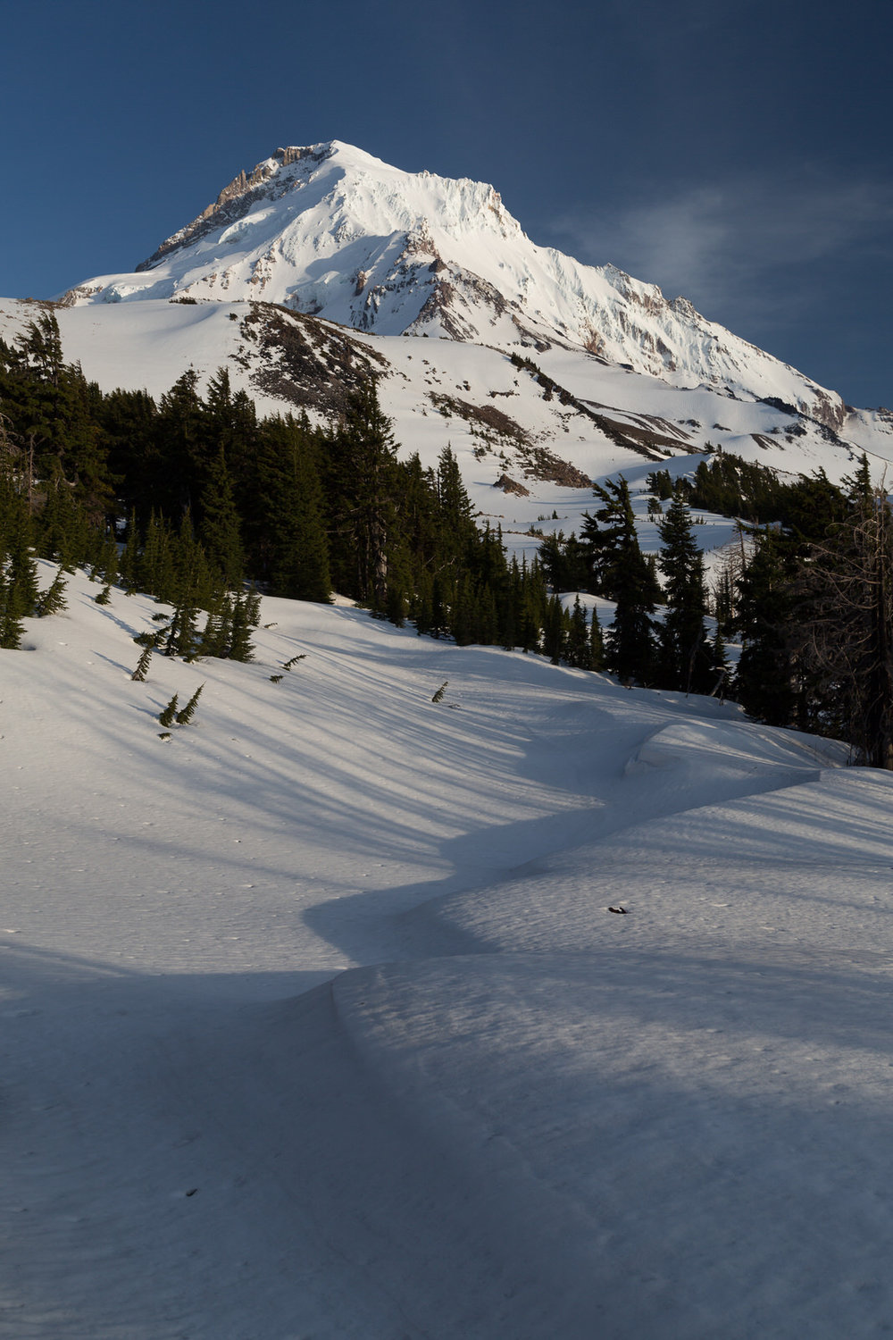 Leading lines in the snow drifts on Vista Ridge below Mt. Hood