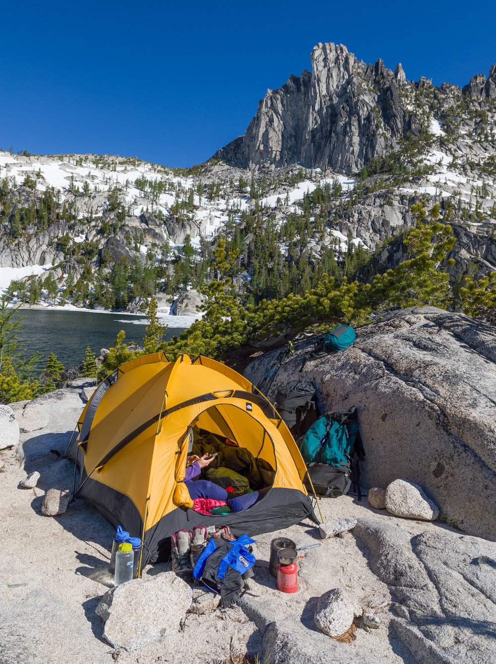 Camp at Lake Viviane in the Enchantments
