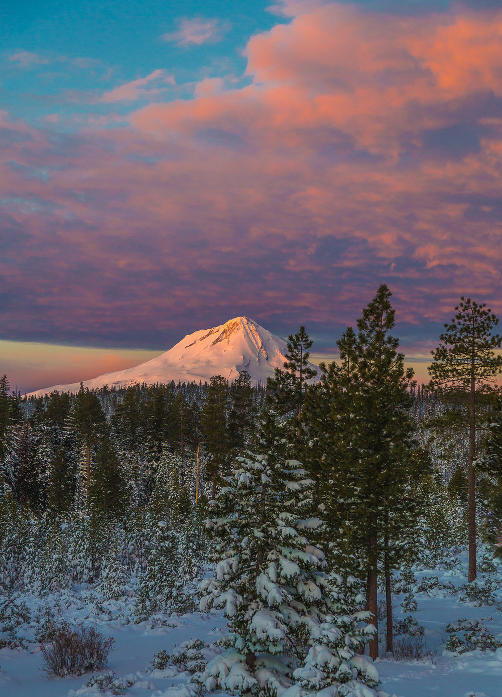 Sunset over Mt. Hood from Fivemile Butte fire lookout
