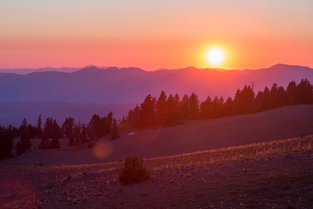 Sunset from the west rim of Crater Lake