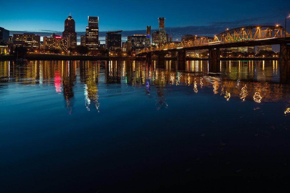 Twilight along the Wilamette in Portland