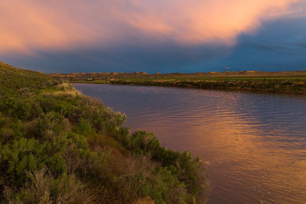 Eerie light over the Owyhee River near Rome, Oregon
