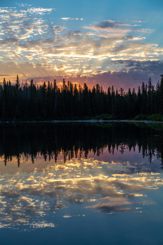 Sunrise over Bench Lake near Mt. Adams