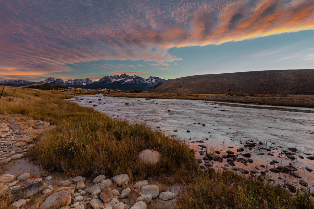 Sunset over Valley Creek near Stanley, Idaho