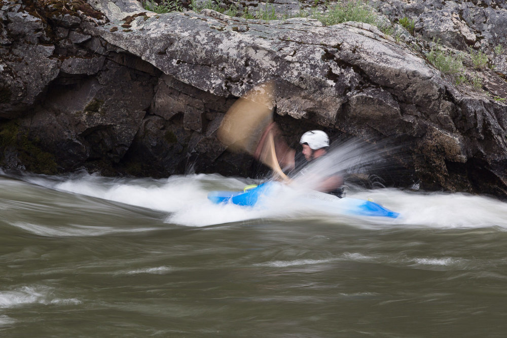 Playboating in a hole on the Middle Fork Salmon River