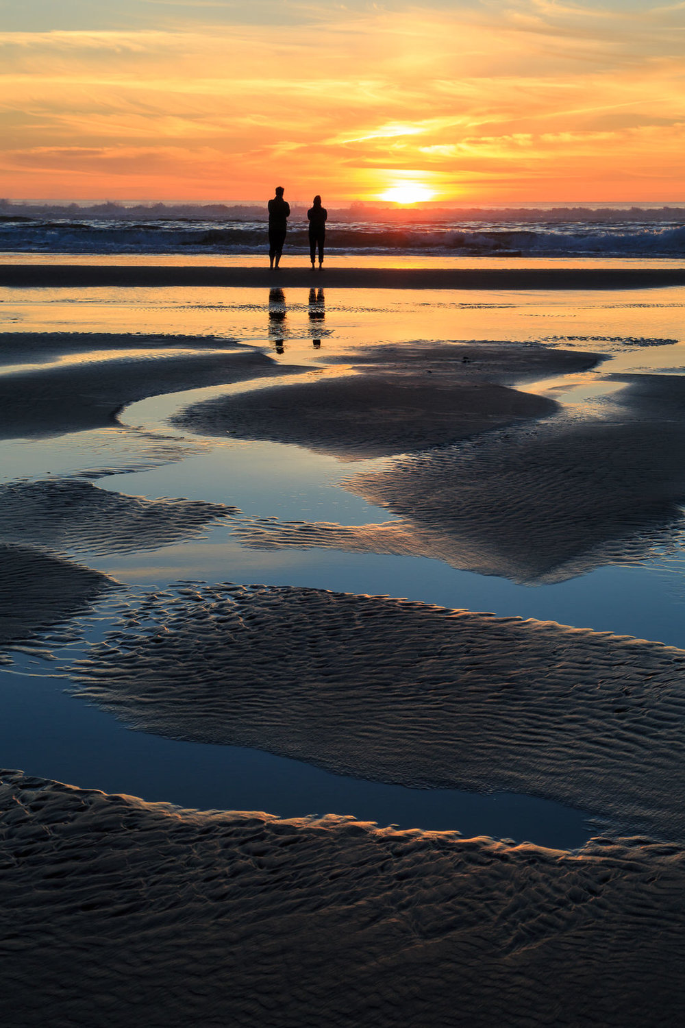 Sunset reflection on the beach at Manzanita