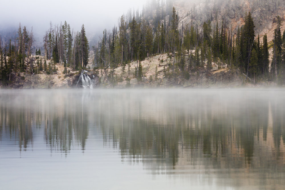 Foggy morning at Middle Cramer Lake in the Sawtooths
