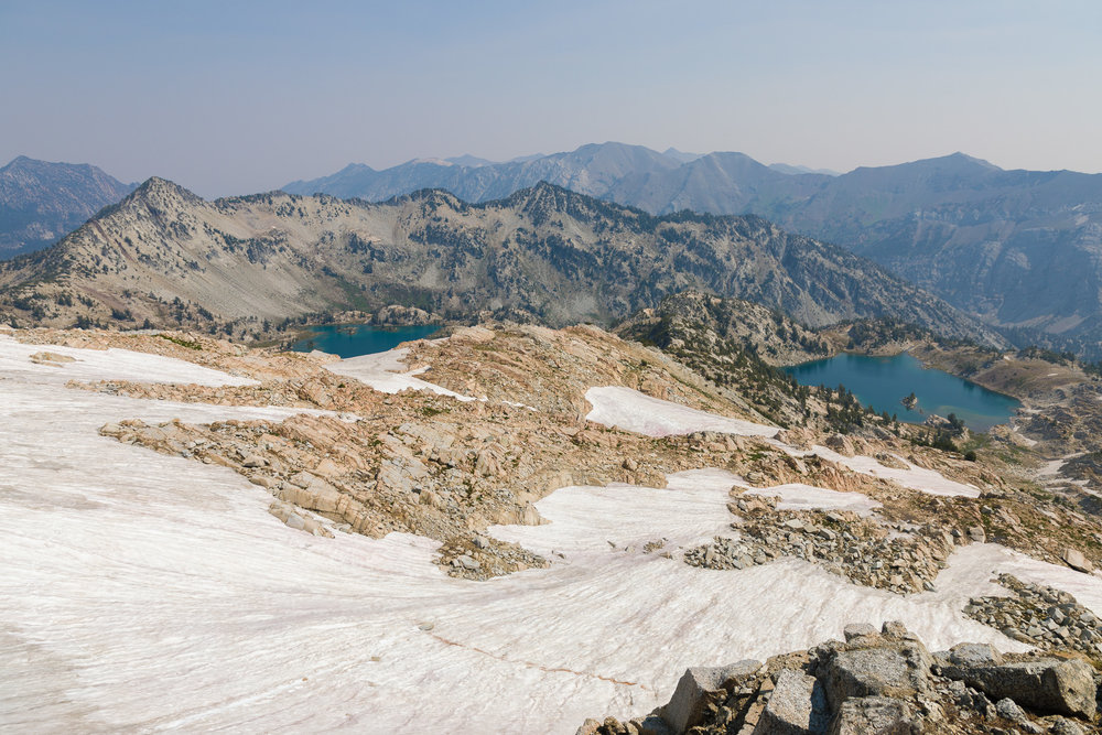 This was the view back down to Glacier Lake (left) and Prospect Lake (right) from Eagle Cap