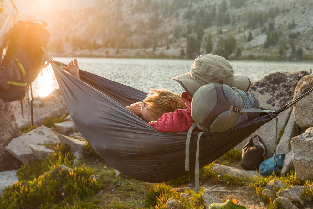 Watching the sunset from our ENO hammock at Glacier Lake in the Wallowas