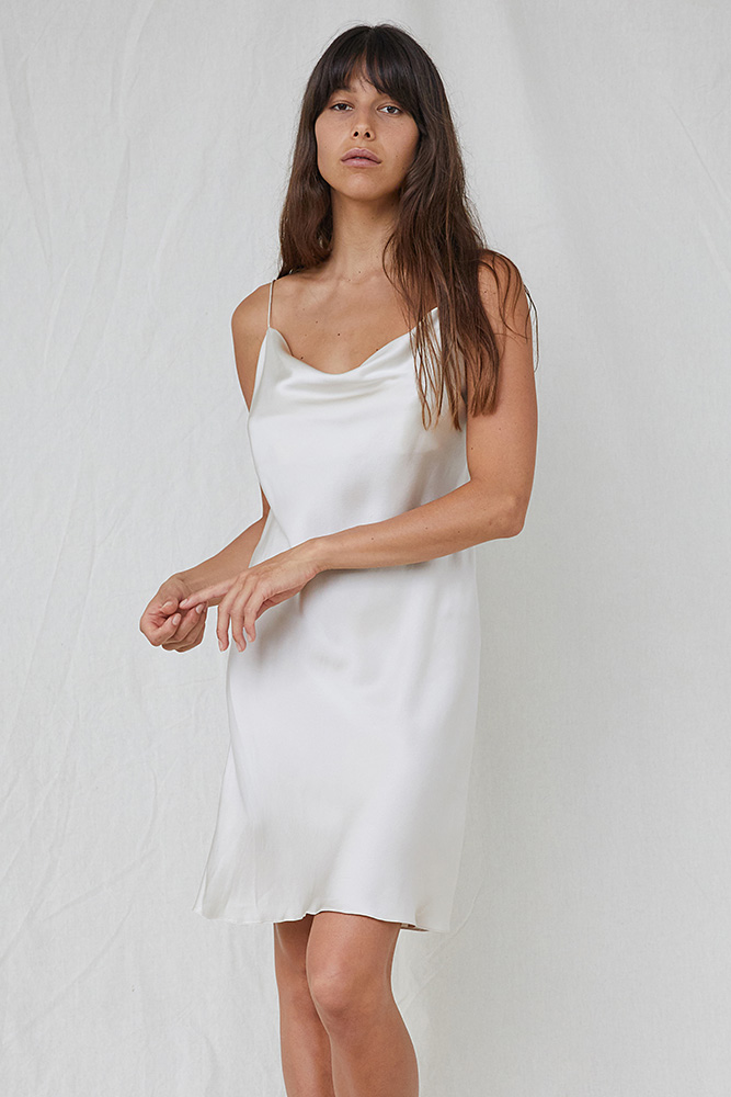 6a2e3df51491 Draped Short Silk Slip - Oyster by NATALIJA — Mrs Fray