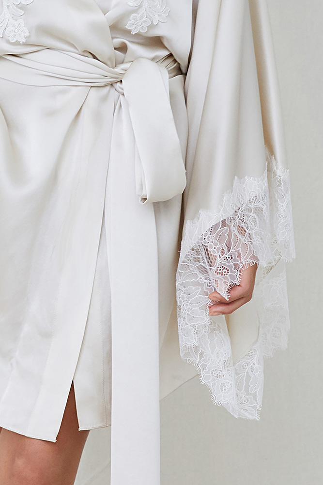 abc52393c6 Lace Detail Silk Robe - Oyster by NATALIJA — Mrs Fray