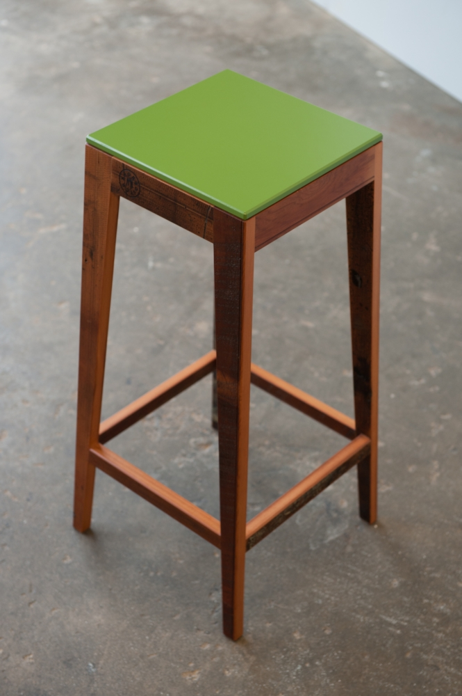 S.220 (Extra Tall) Reclaimed Timber Breakfast Bar Stool with Green Birch Ply Seat.