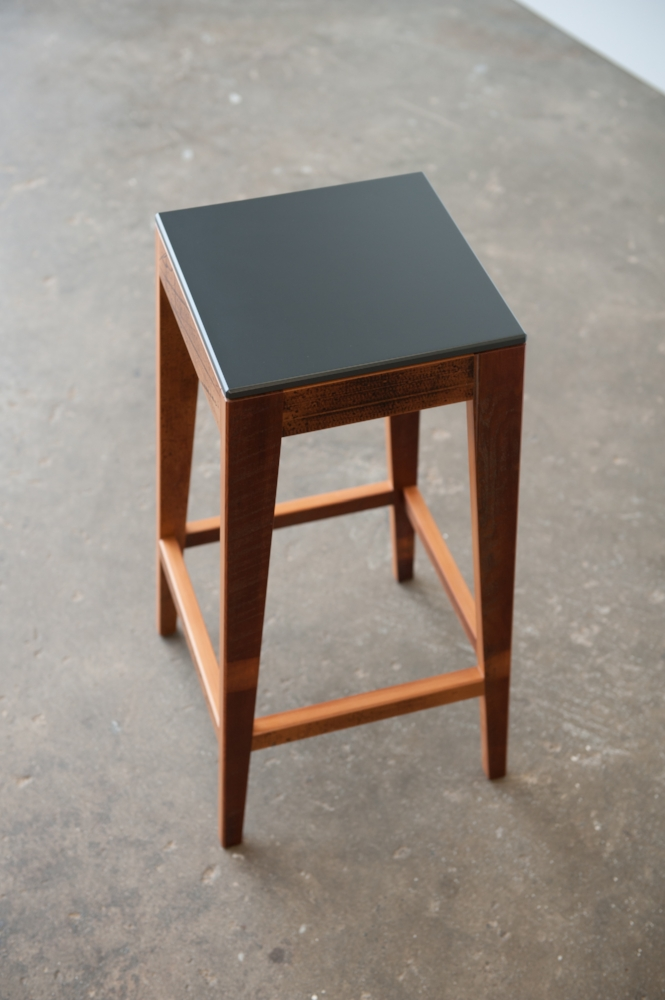 S.210 Reclaimed Timber Breakfast Bar Stool with Resene Gun Metal Birch Ply Seat.