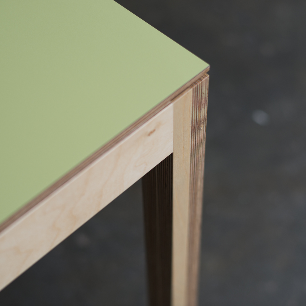 Detail T.180 Dining Table Light Green Laminate top Birch Plywood