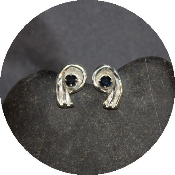 Sapphire Earrings in Sterling Silver