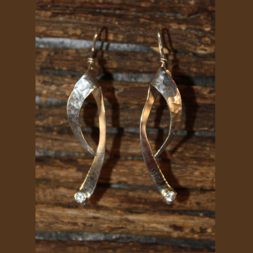 Hammered Silver Earrings with CZ