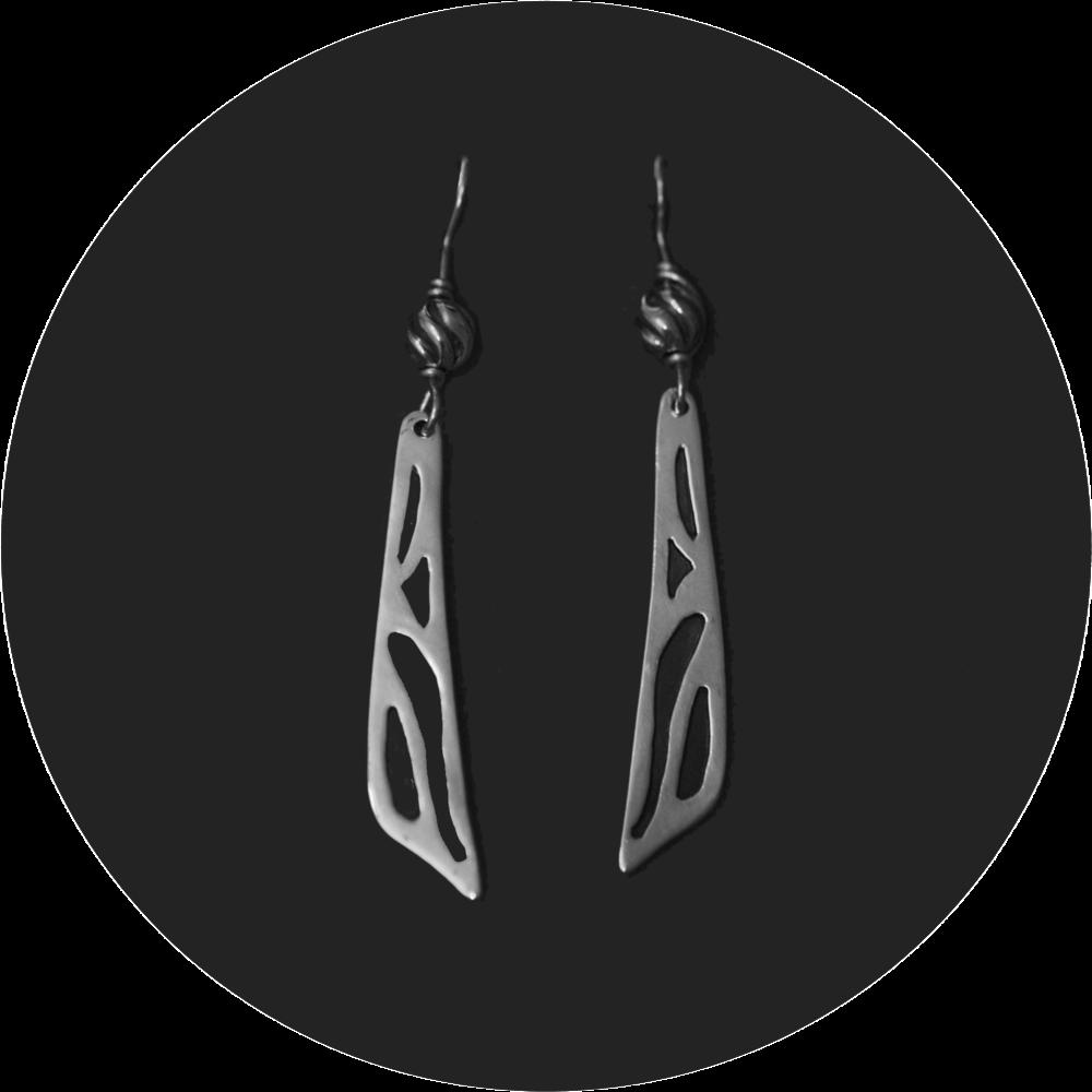 Cutaway Silver Earrings