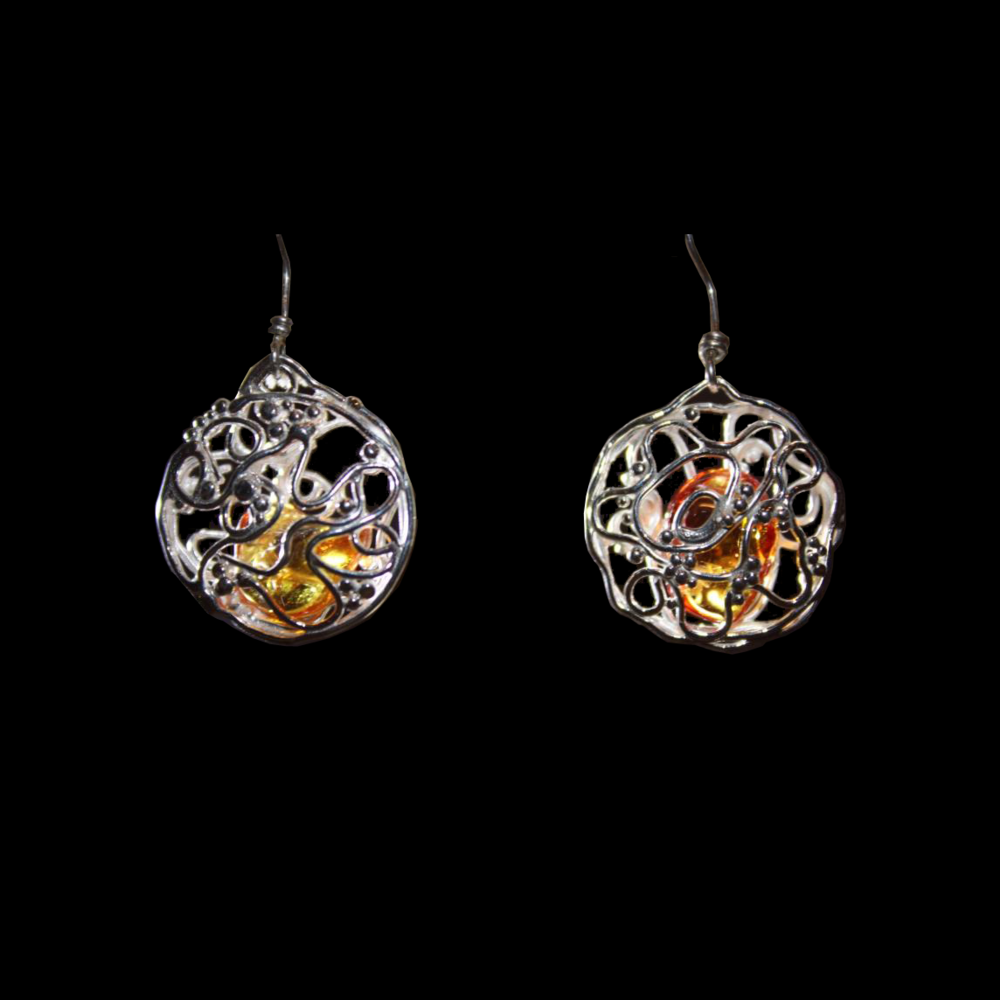 Silver Cages with Tumbled Yellow Sapphires