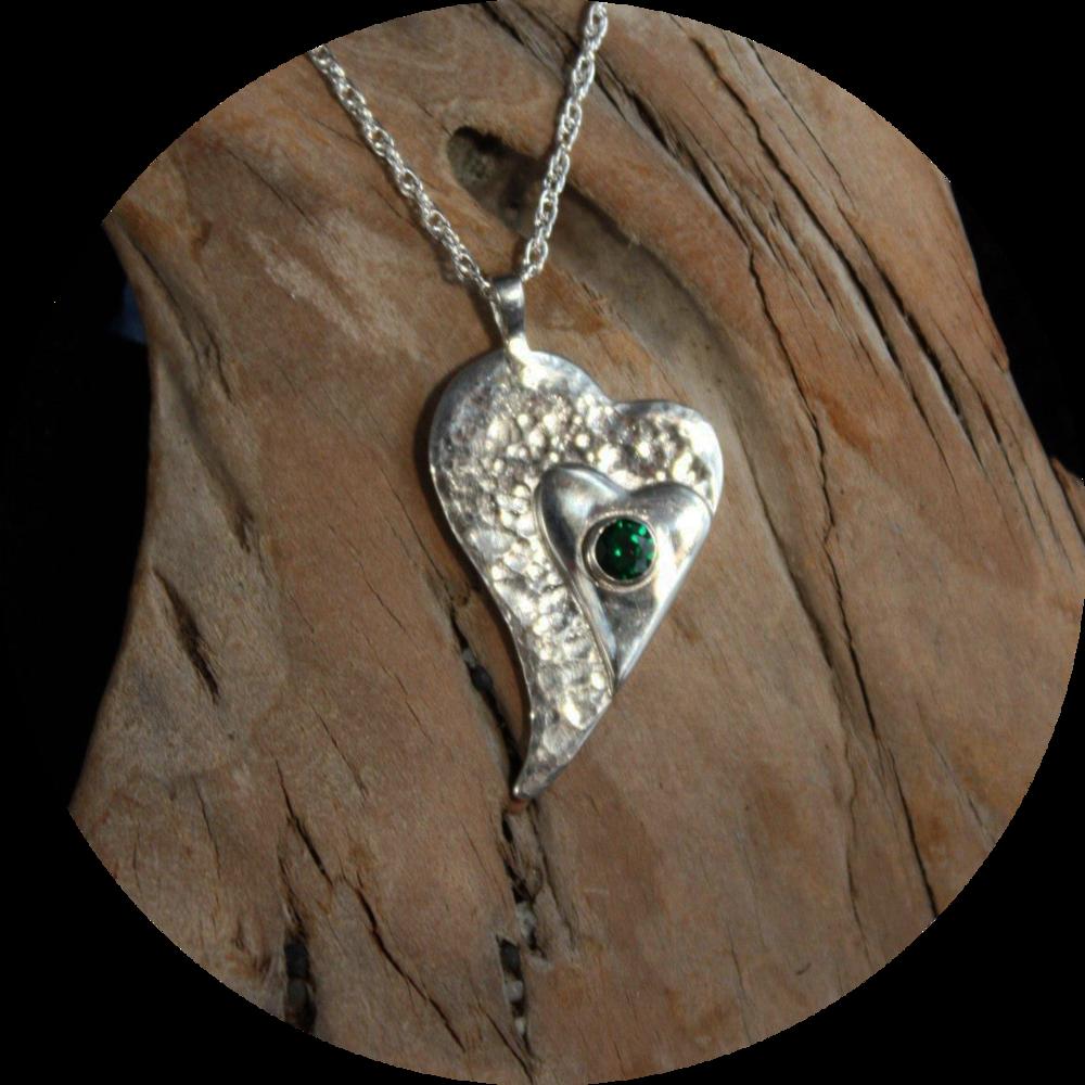 Heart Pendant with Demantoid Garnet
