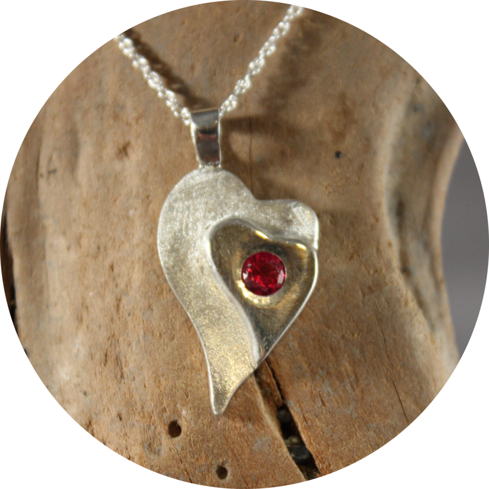 Heart Pendant with Ruby