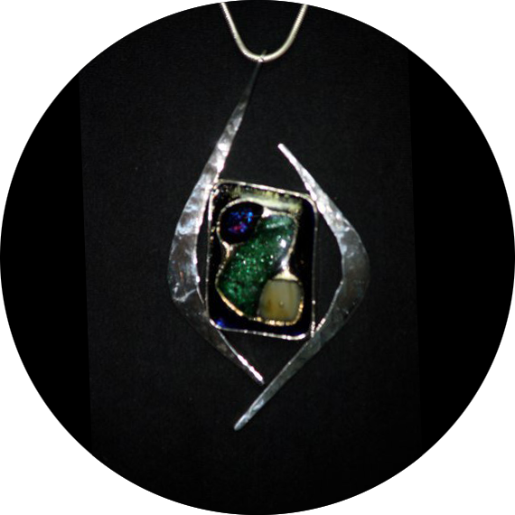 Hammered Silver Pendant with Art Glass
