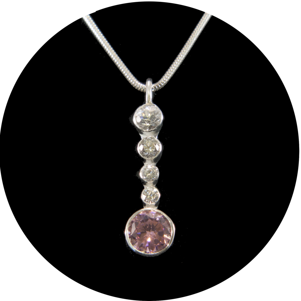 Silver Pendant with Pink and White CZ's