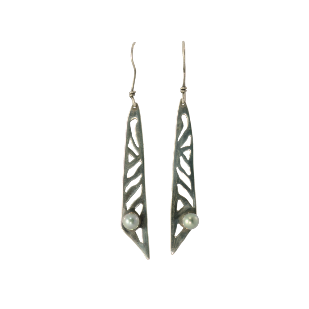 Cutout Earrings with Pearls