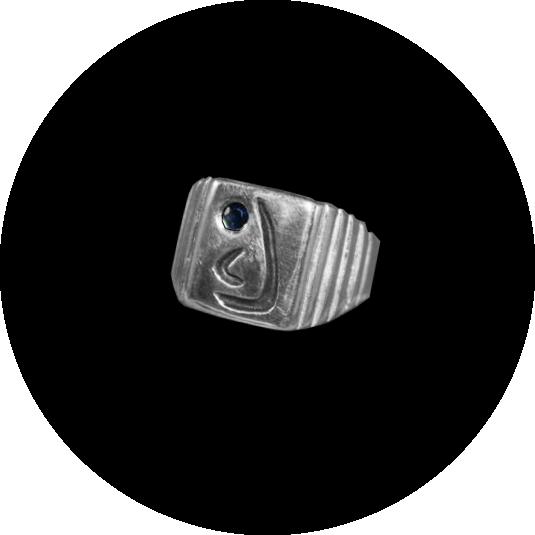 Men's  Sapphire Monogram Ring
