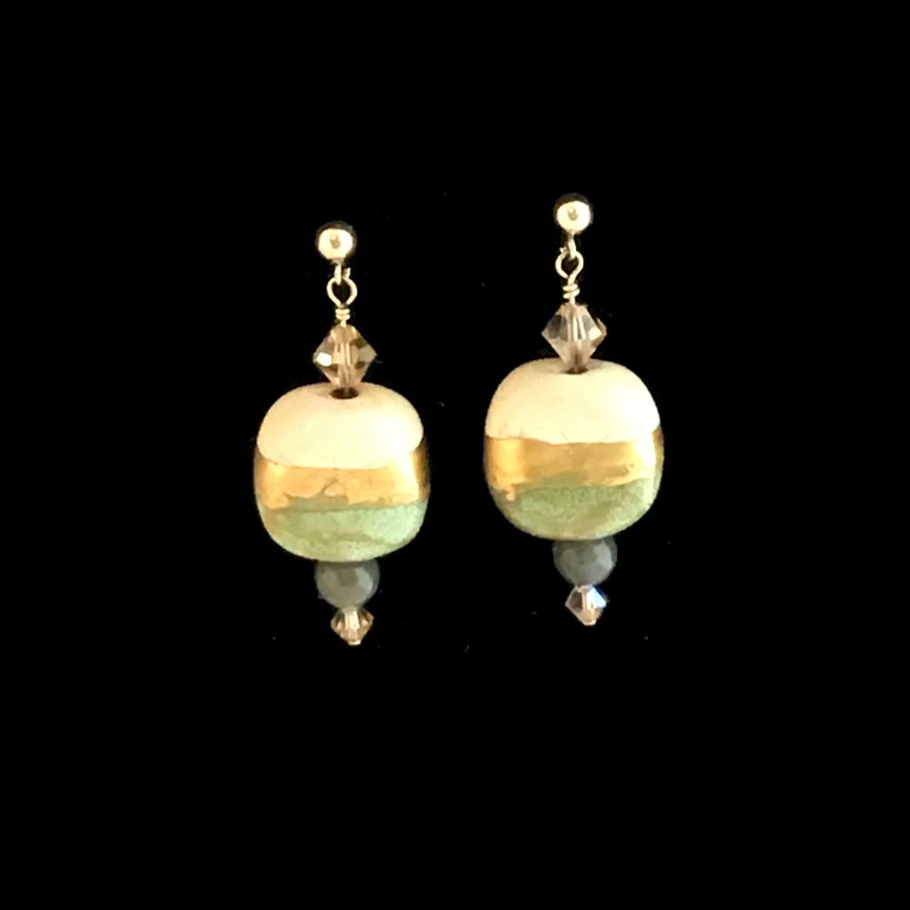 Green & Gold Kazuri Bead Earrings