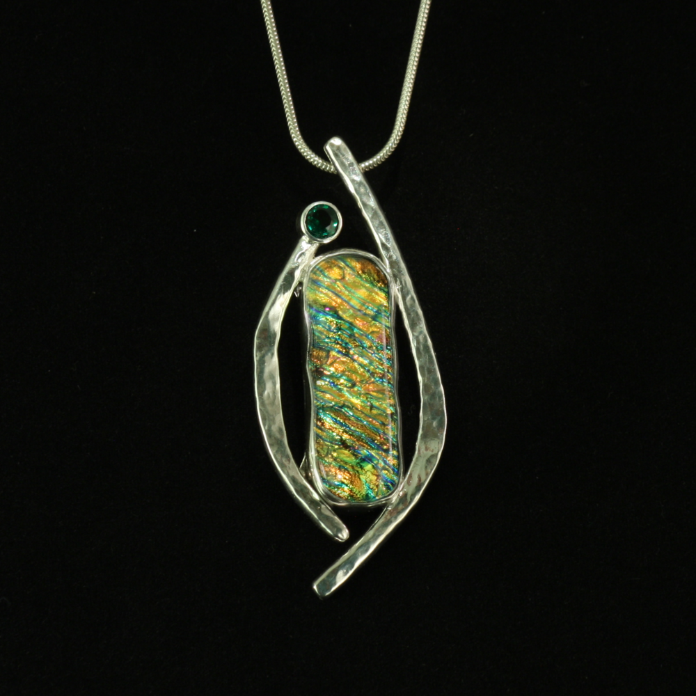 Green Dichroic Glass with Emerald
