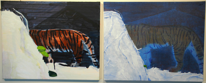 "untitled for dools (tigers), 2007, acrylic on canvas, 2 @ 17"" x 20"""